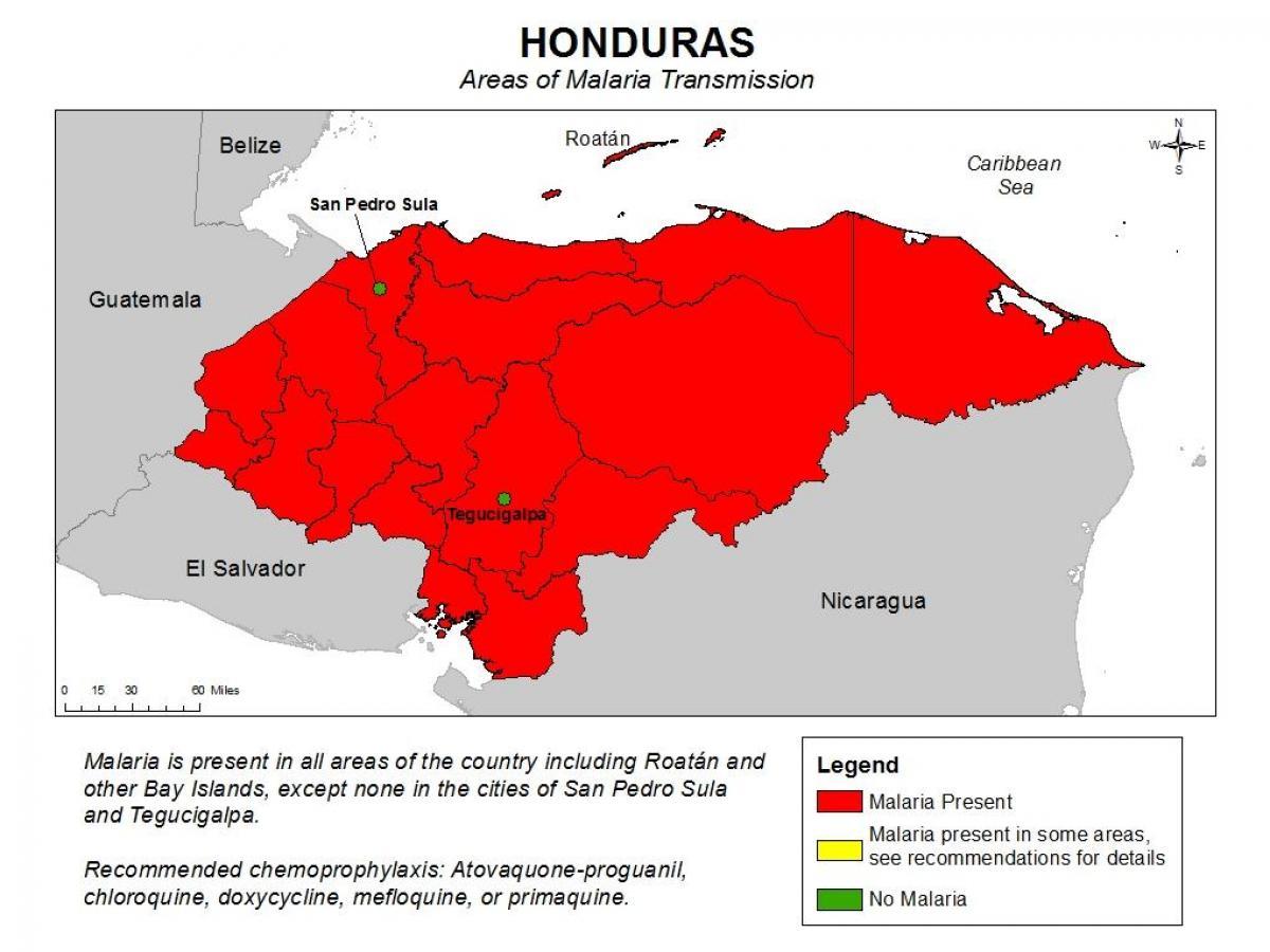 Honduras malaria map - Map of Honduras malaria (Central America ...