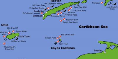 Islands of Honduras map